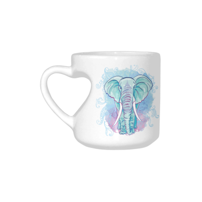 InterestPrint White Ceramic Watercolor Blot Floral with Indian Elephant Heart-shaped Coffee Travel Mug Cup with Sayings, Best Friends Friendship Mom Funny Unique Birthday Thanksgiving Gifts