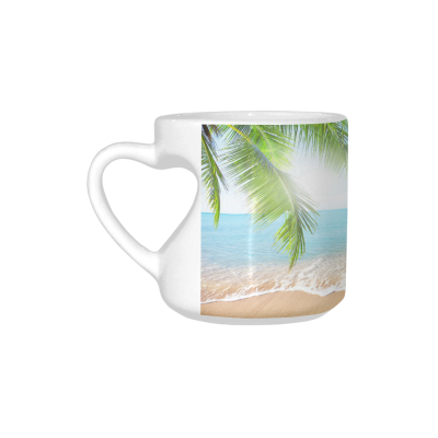 InterestPrint White Ceramic Tropical Coconut Palm Tree Summer Nature Sea Ocean Beach Hawaii Heart-shaped Travel Coffee Mug Cup, Best Friends Friendship Birthday Gifts