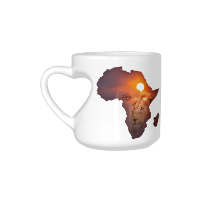InterestPrint White Ceramic Africa Wildlife Map Design with Lion Heart-shaped Coffee Travel Mug Cup with Sayings, Best Friends Friendship Mom Funny Unique Birthday Thanksgiving Gifts