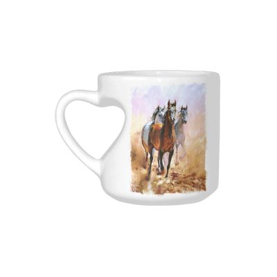 InterestPrint White Ceramic Horse Animal Wildlife Safari Oil Painting Heart-shaped Travel Coffee Mug Cup, Best Friends Friendship Mom Funny Birthday Gifts
