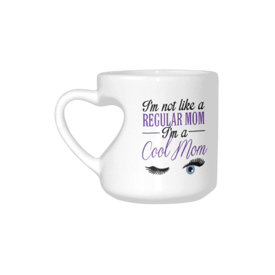 InterestPrint Kitchen & Dining Funny Quote Best Mom Ceramic Coffee Mug Cup with Love Heart Shaped Handle-White-10.3 oz-I'm Not Like A Regular Mom I'm A Cool Mom