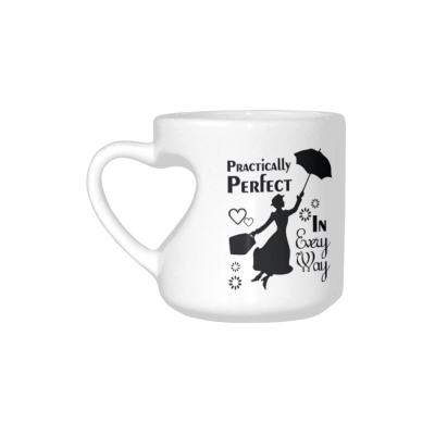 InterestPrint Kitchen & Dining Funny Quote Mary Poppins Ceramic Coffee Mug Cup with Love Heart Shaped Handle-White-10.3 oz-Practically Perfect in Every Way