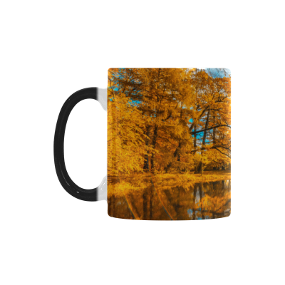 InterestPrint Kitchen & Dining Autumn Maple Tree Morphing Mug Heat Sensitive Color Changing Mug Ceramic Coffee Mug Cup-White-11 oz-Blue Sky Golden Forest Maple Tree Leaf Autumn Fall Scenery Lake