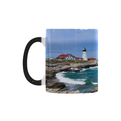 InterestPrint Kitchen & Dining Landscape Sea Lighthouse Morphing Mug Heat Sensitive Color Changing Mug Ceramic Coffee Mug Cup-White-11 oz-Seascape Sea Ocean Scenery Lighthouse