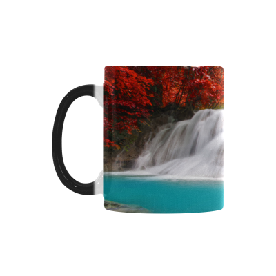 InterestPrint Kitchen & Dining Nature Waterfall Morphing Mug Heat Sensitive Color Changing Mug Ceramic Coffee Mug Cup-White-11 oz-Huay Mae Kamin Waterfall Thailand Forest Nature Maple Autumn Scenery