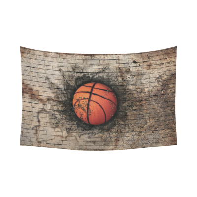 InterestPrint Sport Wall Art Home Decor, Basketball Embedded in Brick Wall Cotton Linen Tapestry Wall Hanging Art Sets