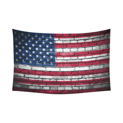 InterestPrint American Flag Wall Art Home Decor, Brick Wall with Flag of United States Cotton Linen Tapestry Wall Hanging Art Sets