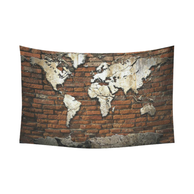 InterestPrint Adventure Wall Art Home Decor, Vintage Retro World Map on Old Brick Wall Cotton Linen Tapestry Wall Hanging Art Sets