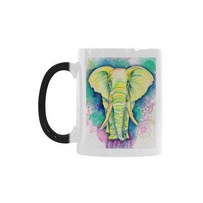 InterestPrint Kitchen & Dining Ethnic Elephant Morphing Mug Heat Sensitive Color Changing Mug Ceramic Coffee Mug Cup-White-11 oz-Ethnic Tropical Color Pencil Drawing Art African Elephant Yellow Green