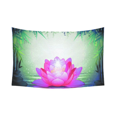 InterestPrint Home Decor, Lotus Flower in Tranquil Zen Garden Cotton Linen Tapestry Wall Hanging Art Sets