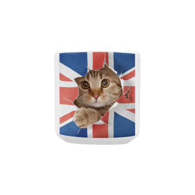 InterestPrint Kitchen & Dining Union Jack Funny Cat Ceramic Coffee Mug Cup with Love Heart Shaped Handle-White-10.3 oz-Union Jack UK Flag United Kingdom British England Funny Cat Kitty