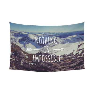 InterestPrint Adventure Mountain Wall Art Home Decor, Motivational Quote Cotton Linen Tapestry Wall Hanging Art Sets