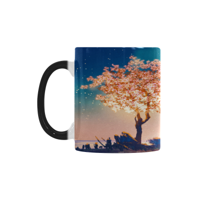 InterestPrint Kitchen & Dining Season Scenery Cherry Blossom Tree Morphing Mug Heat Sensitive Color Changing Mug Ceramic Coffee Mug Cup-White-11 oz-Fantasy Pink Cherry Blossom Tree Lake Spring Night