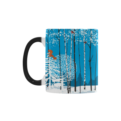 InterestPrint Kitchen & Dining Birch Tree Morphing Mug Heat Sensitive Color Changing Mug Ceramic Coffee Mug Cup-White-11 oz-Winter Christmas Snow Silver Birch Tree Forest Deer Squirrel Bird