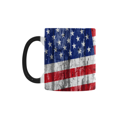 InterestPrint Kitchen & Dining American Texas Flag Morphing Mug Heat Sensitive Color Changing Mug Ceramic Coffee Mug Cup-White-11 oz-Wooden Background Flag of US and Texas the Stars and the Stripes