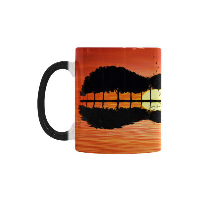 InterestPrint Kitchen & Dining Guitar Tree African Sunset Morphing Mug Heat Sensitive Color Changing Mug Ceramic Coffee Mug Cup-White-11 oz-Guitar Tree Sunset African Savannah River Black Red Orange