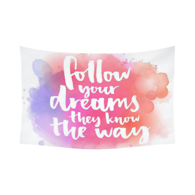 Interestprint Follow Your Dreams Inspirational Quotes Tapestry Wall Hanging Pink Watercolor Wall Decor Art for Living Room Bedroom Dorm Cotton Linen Decoration