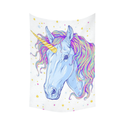 Interestprint Colorful Blue Unicorn Tapestry Wall Hanging Cool Horse Pattern Wall Decor Art for Living Room Bedroom Dorm Cotton Linen Decoration