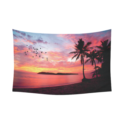 InterestPrint Seascape Wall Art Home Decor, Sunset with Birds Palms at Rebak Island Langkawi Malay Cotton Linen Tapestry Wall Hanging Art Sets