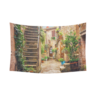 InterestPrint European Cityscape Wall Art Home Decor, Alley in Old Town Tuscany Italy Cotton Linen Tapestry Wall Hanging Art Sets