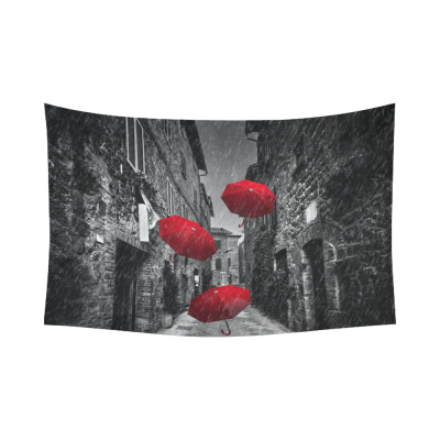 InterestPrint Cityscape Wall Art Home Decor, Umbrellas Flying with Wind and Rain on Narrow Street Cotton Linen Tapestry Wall Hanging Art Sets