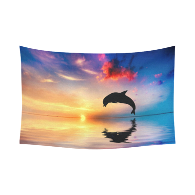 InterestPrint Beautiful Sky Cloud Wall Art Home Decor, Dolphin Jump in the Ocean at Sunset Time Cotton Linen Tapestry Wall Hanging Art Sets
