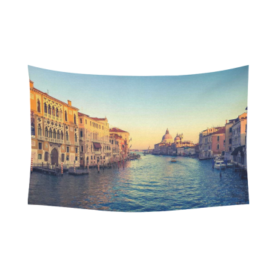 InterestPrint Beautiful Italy Cityscape Wall Art Home Decor, Grand Canal in Venice Italy Sunset Time Cotton Linen Tapestry Wall Hanging Art Sets