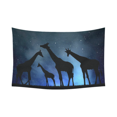 InterestPrint Animal Wall Art Home Decor, Herd of Giraffes in the Night Sky Cotton Linen Tapestry Wall Hanging Art Sets