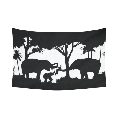 Interestprint Black and White Forest Elephant Tapestry Wall Hanging Wildlife Tree Wall Decor Art for Living Room Bedroom Dorm Cotton Linen Decoration
