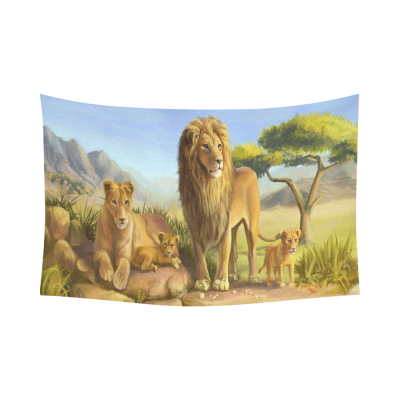 InterestPrint Wildlife Animal Wall Art Home Decor, Lion and Tiger Cotton Linen Tapestry Wall Hanging Art Sets