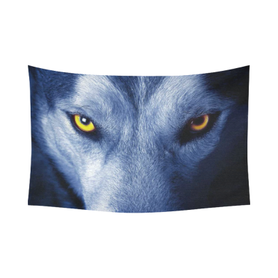 InterestPrint Wildlife Animal Wall Art Home Decor, Beautiful Eyes of Wolf Cotton Linen Tapestry Wall Hanging Art Sets