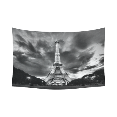 InterestPrint City Landmark Wall Art Home Decor, Paris Eiffel Tower Black and White Cotton Linen Tapestry Wall Hanging Art Sets