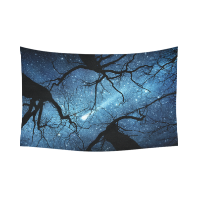Interestprint Night Sky Starry Night Tapestry Wall Hanging Meteor Milky Way Galaxy Celestial Tree Wall Decor Art for Living Room Bedroom Dorm Cotton Linen Decoration