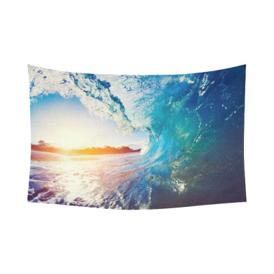 InterestPrint Seascape Wall Art Home Decor, Blue Ocean Wave Crashing Sunrise Cotton Linen Tapestry Wall Hanging Art Sets