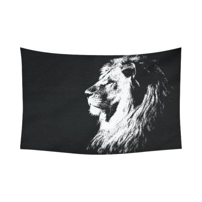 InterestPrint Animal Wall Art Home Decor, Portrait of Lion King Black and White Cotton Linen Tapestry Wall Hanging Art Sets