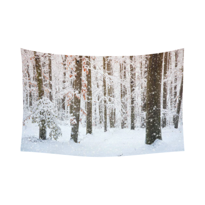 Interestprint Winter Scene White Snow Tree Trunks Forest Tapestry Wall Hanging Grove Nature Wall Decor Art for Living Room Bedroom Dorm Cotton Linen Decoration