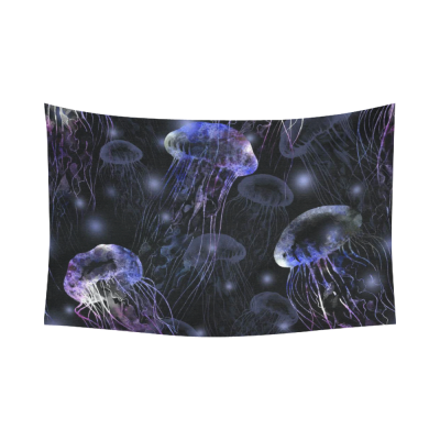 InterestPrint Underwater Wall Art Home Decor, Tropical Beach Magical Jellyfish Purple Cotton Linen Tapestry Wall Hanging Art Sets