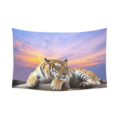 InterestPrint Animal King Wall Art Home Decor, Lying Tiger under Beautiful Sky Cotton Linen Tapestry Wall Hanging Art Sets