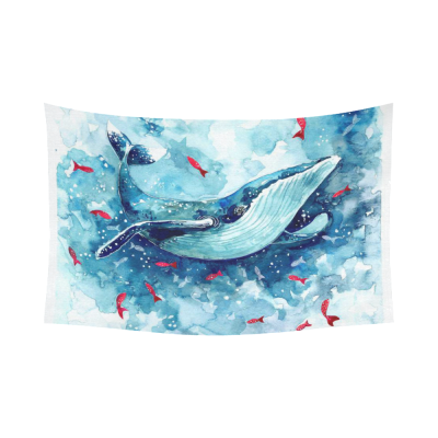 InterestPrint Cute Animal Wall Art Home Decor, Watercolor Whale Cotton Linen Tapestry Wall Hanging Art Sets