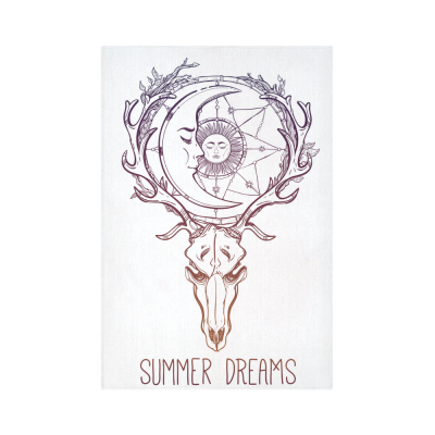 Interestprint Vintage Deer Skull Dream Catcher Sun Moon Stars Tapestry Wall Hanging Indian Cluture Boho Wall Decor Art for Living Room Bedroom Dorm Cotton Linen Decoration
