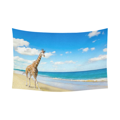 Interestprint Ocean Wave Run on Seacoast Giraffe Tapestry Wall Hanging Blue Sky Seaside Wall Decor Art for Living Room Bedroom Dorm Cotton Linen Decoration
