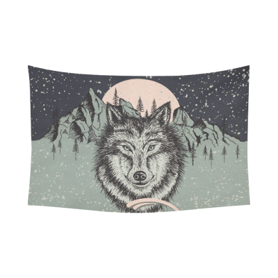 InterestPrint Animal Wall Art Home Decor, Wolf on the Alaska Mountain Cotton Linen Tapestry Wall Hanging Art Sets