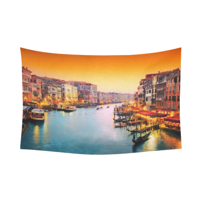 InterestPrint City Wall Art Home Decor, Grand Canal at Sunset in Venice Italy Cotton Linen Tapestry Wall Hanging Art Sets