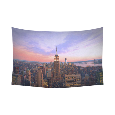 InterestPrint Cityscape Wall Art Home Decor, New York City at Twilight USA Cotton Linen Tapestry Wall Hanging Art Sets