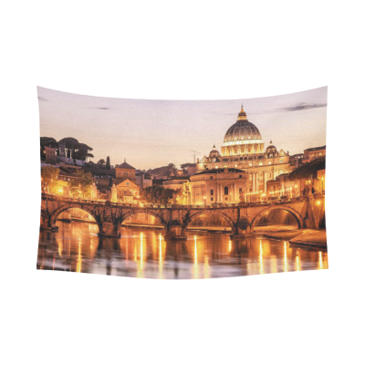 InterestPrint City Wall Art Home Decor, Night View of San Pietro in Rome Italy Cotton Linen Tapestry Wall Hanging Art Sets
