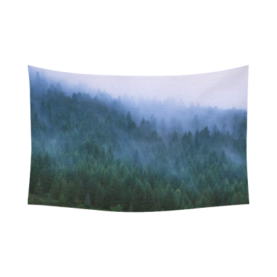 InterestPrint Green Tree Landscape Wall Art Home Decor, Fog on Conifers, National Park Tara  Cotton Linen Tapestry Wall Hanging Art Sets