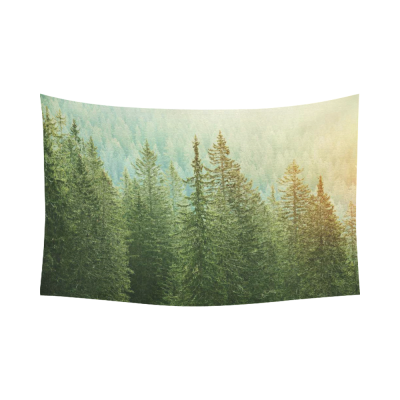 InterestPrint Landscape Wall Art Home Decor, Green Trees in a Forest at Sunset Cotton Linen Tapestry Wall Hanging Art Sets