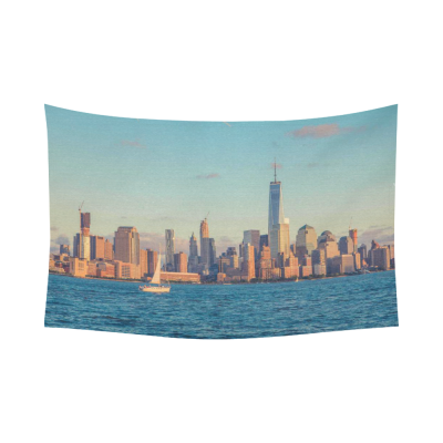 InterestPrint Cityscape Wall Art Home Decor, New York City Manhattan Skyline at Sunset Cotton Linen Tapestry Wall Hanging Art Sets