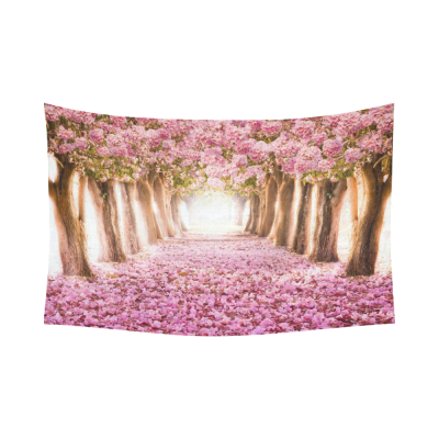 Interestprint Pink Sakura Flower Road Japanese Cherry Blossom Tapestry Wall Hanging Tree Forest View Wall Decor Art for Living Room Bedroom Dorm Cotton Linen Decoration