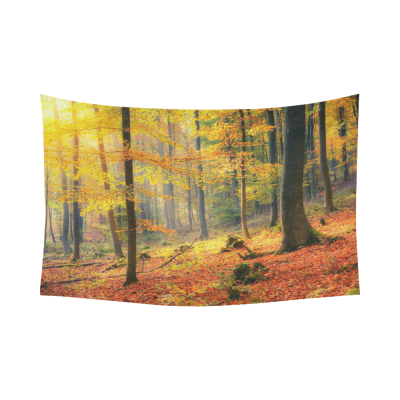 Interestprint Colorful Foggy Yellow Deep Forest Autumn Tapestry Wall Hanging Woodland Grove Landscape Fall Wall Decor Art for Living Room Bedroom Dorm Cotton Linen Decoration